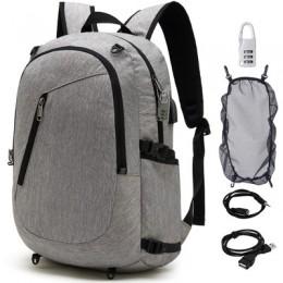 品名: 韓版商務電腦背包USB充電多功能防盜雙肩背包戶外旅行背包(灰色) J-14026 全新 G-1696