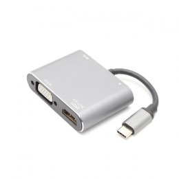 USB3.0 Type-C to HDMI 支援PD充電 影音傳輸轉換器HUB 多功能四合一集線器 七成新 G-4177