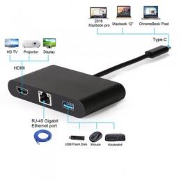 品名: USB C TYPE-C轉HDMI 4K RJ45 USB 3.0 PD適配器電纜轉換器四合一 J-14638 全新 G-4362