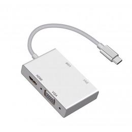 品名: USB 3.1 Type-C轉HDMI VGA DVI HUB TYPE-C轉HDMI(顏色隨機) J-14640 全新 G-4617